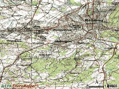 Shillington topographic map