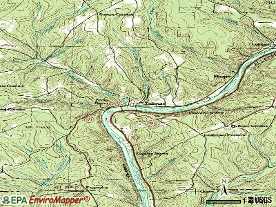 Tidioute topographic map
