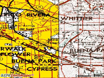La Mirada topographic map