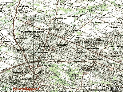 Warminster Heights topographic map