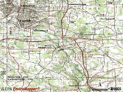 West Middlesex topographic map