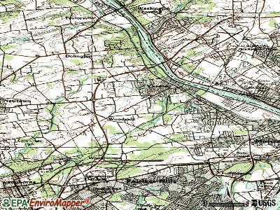 Woodside topographic map