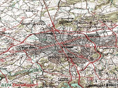 York topographic map