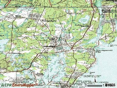 Wakefield-Peacedale topographic map