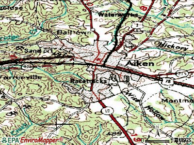 Aiken topographic map