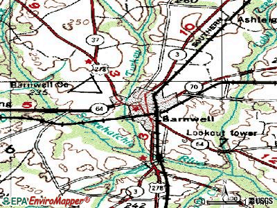 Barnwell topographic map