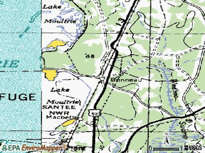 Bonneau topographic map