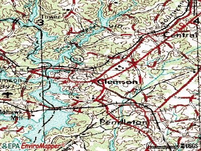 Clemson topographic map