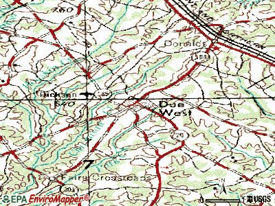 Due West topographic map