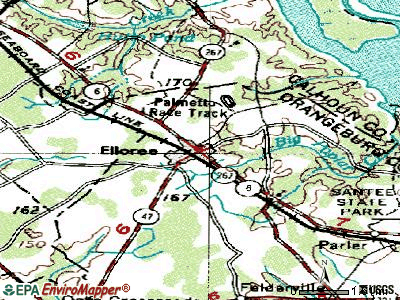 Elloree topographic map