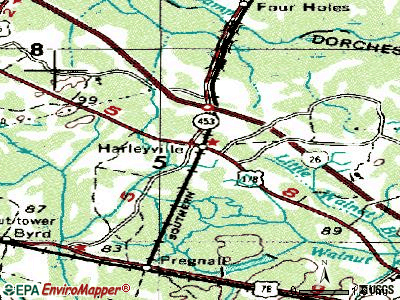 Harleyville topographic map