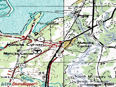 Moncks Corner topographic map