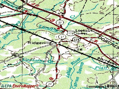 Ridgeville topographic map