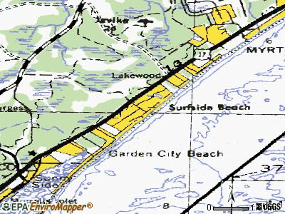 Surfside Beach topographic map