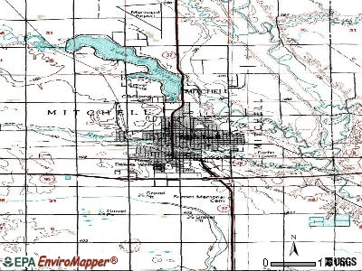 Mitchell topographic map