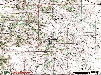 Rosebud topographic map