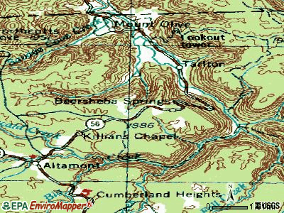 Beersheba Springs topographic map