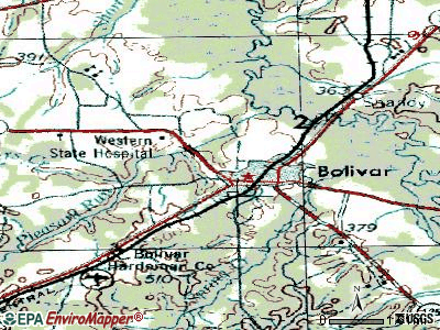 Bolivar topographic map