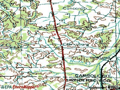 Clarksburg topographic map