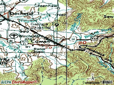 Cowan topographic map