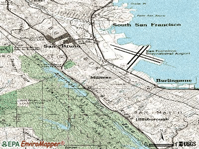 Millbrae topographic map