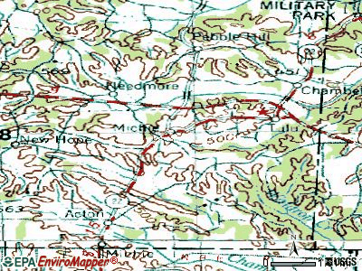 Michie topographic map
