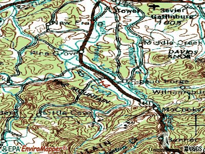 Pigeon Forge topographic map