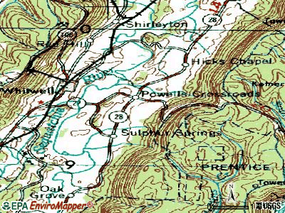Powells Crossroads topographic map