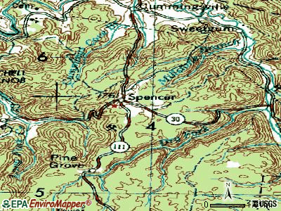 Spencer topographic map