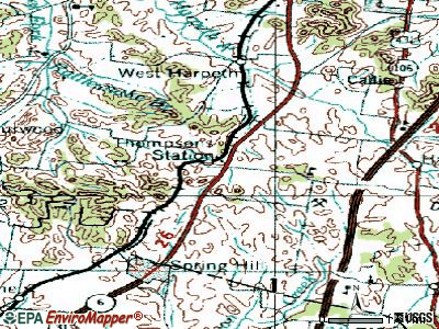 Thompson's Station topographic map