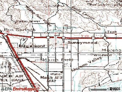 Moreno Valley topographic map