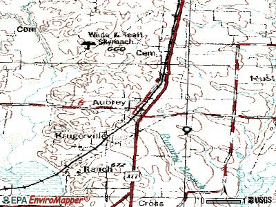 Aubrey topographic map