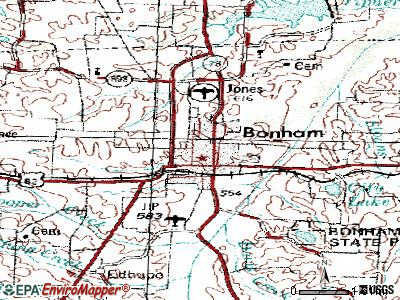 Bonham topographic map
