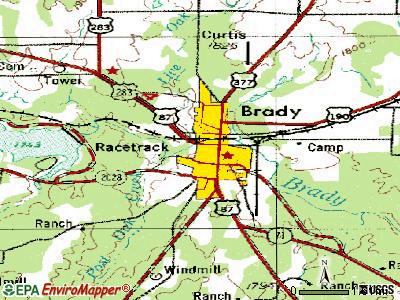 Brady topographic map