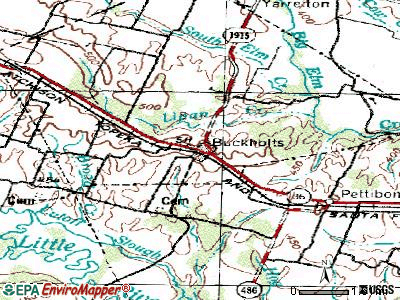 Buckholts topographic map