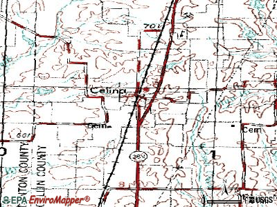 Celina topographic map