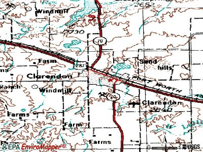 Clarendon topographic map