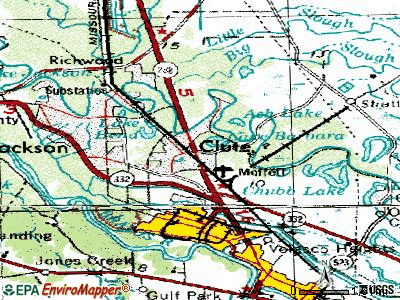 Clute topographic map