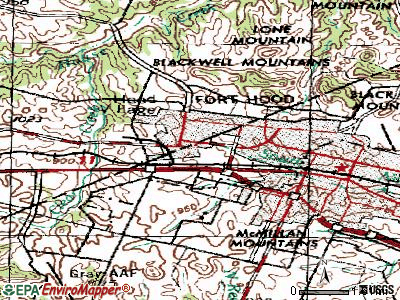 Fort Hood topographic map
