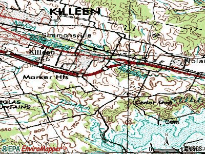 Harker Heights topographic map