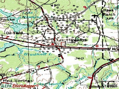 Hawkins topographic map
