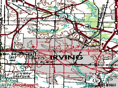 Irving topographic map