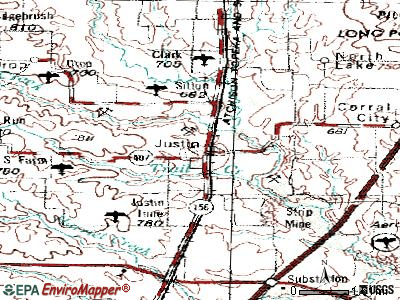 Justin topographic map
