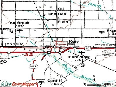 Katy topographic map
