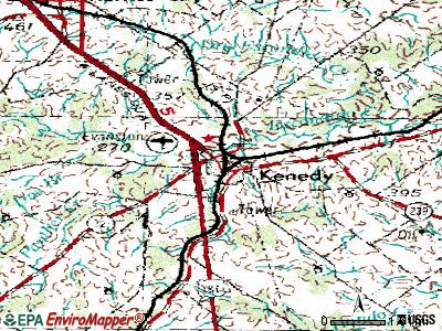 Kennedale topographic map