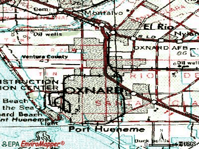Oxnard topographic map