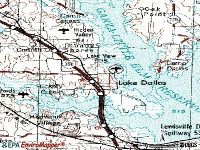 Lake Dallas topographic map