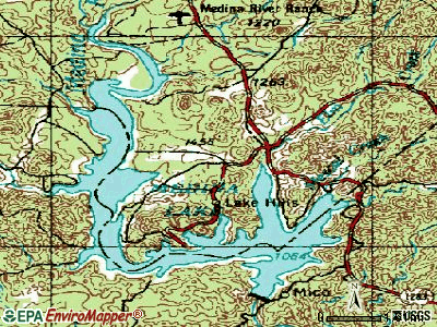 Lakehills topographic map