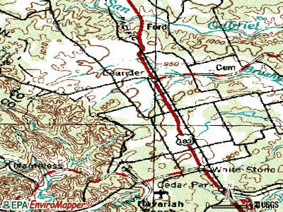 Leander topographic map