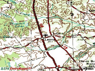Leona topographic map